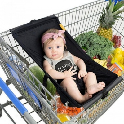 Foldable Baby Kids Shopping Cart Cushion Portable Kids Trolley Pad Baby Shopping Push Cart Protection Cover Baby Chair Seat Mat Black