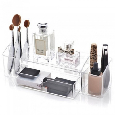 Best Clear Transparent Cosmetic Mascara Makeup Brush Perfume Storage Container Acrylic Makeup Organizer for Cosmetics Clear/M