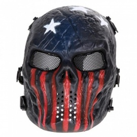 Skull Airsoft Party Mask Paintball Full Face Mask Army Games Mesh Eye Shield Mask for Halloween Cosplay Party Decor Black