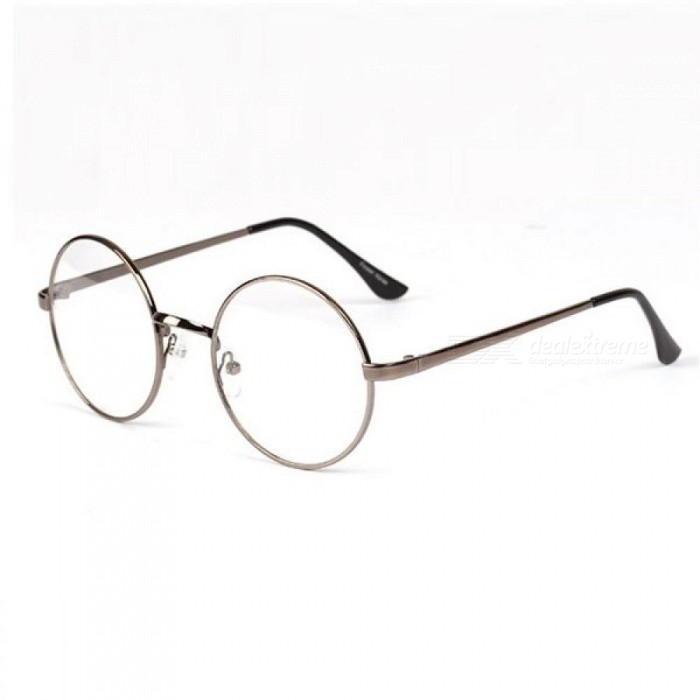 Fashion Retro Round Circle Metal Frame Eyeglasses Clear Lens Eye ...