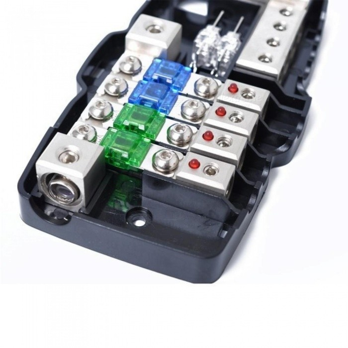 Multi-functional LED Car Audio Stereo Mini ANL Fuse Box with 4 Way Fuse Block 30A 60A 80Amp and Battery Distribution