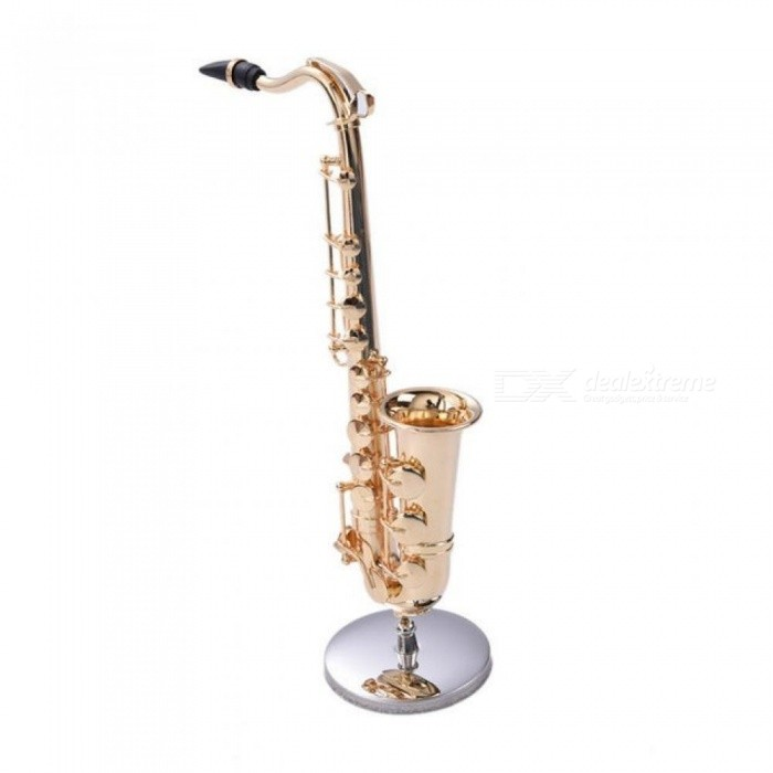 Mini Saxophone with Metal Stand Miniature Musical Instruments Collection Decorative Ornaments Alto Saxophone High-Quality Gifts