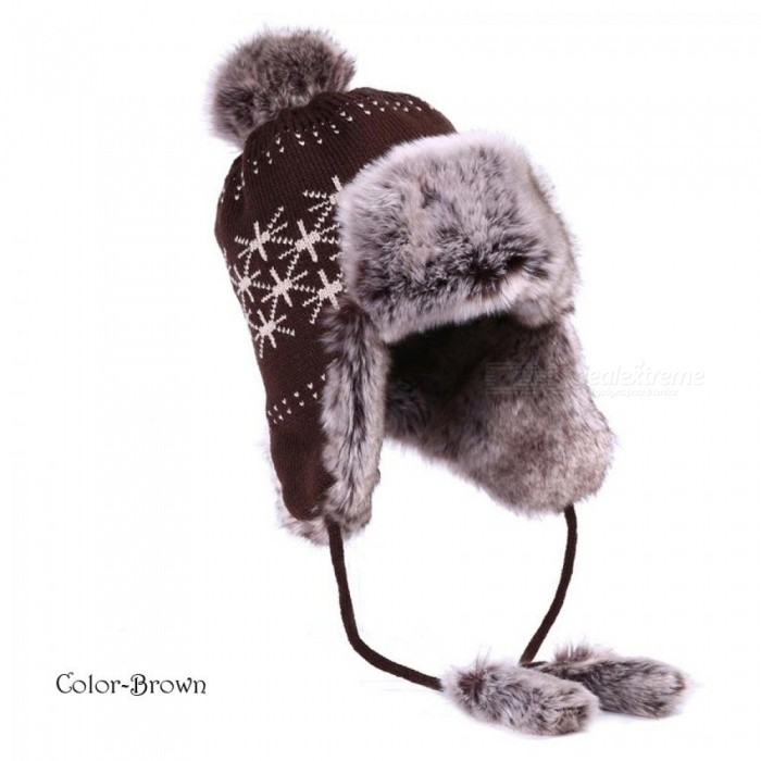 Bomber Hat Women Winter Wool Knitted Snow Hats Pom Pom Maple Leaf Trapper  Aviator Cap Fox 38fdb1890065