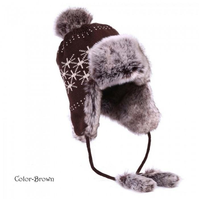 52db5bb8 Bomber Hat Women Winter Wool Knitted Snow Hats Pom Pom Maple Leaf Trapper  Aviator Cap Fox