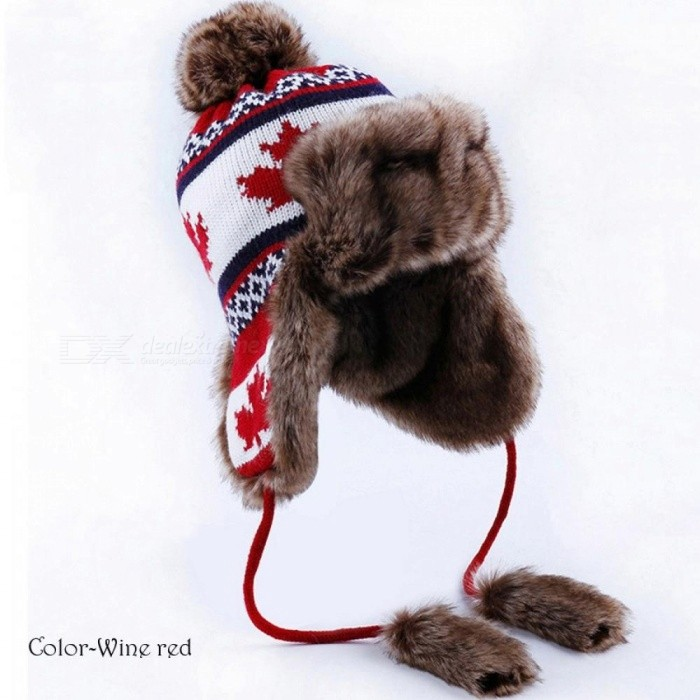 12926400cf6 Bomber Hat Women Winter Wool Knitted Snow Hats Pom Pom Maple Leaf Trapper  Aviator Cap Fox Fur Earflaps Russian Ushanka One Size Beige - Worldwide  Free ...