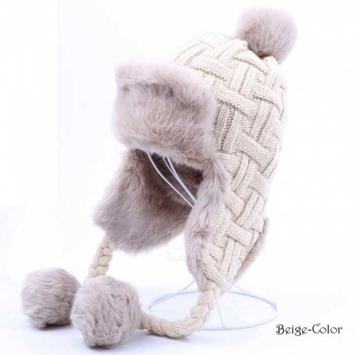 34ab1e84c1b ... Bomber Hat Women Winter Wool Knitted Snow Hats Pom Pom Maple Leaf  Trapper Aviator Cap Fox