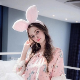 Women Girls Rabbit Headwear Bunny Ears Kawaii Dressed Props Headbands Hair Head Hoop Female Hairwears Quality Accessories Navy