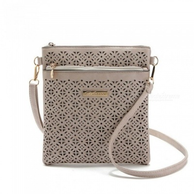 Small Casual Women Messenger Bags PU Hollow Out Crossbody Bags Ladies Shoulder Purse and Handbags Clutches Light Brown 1