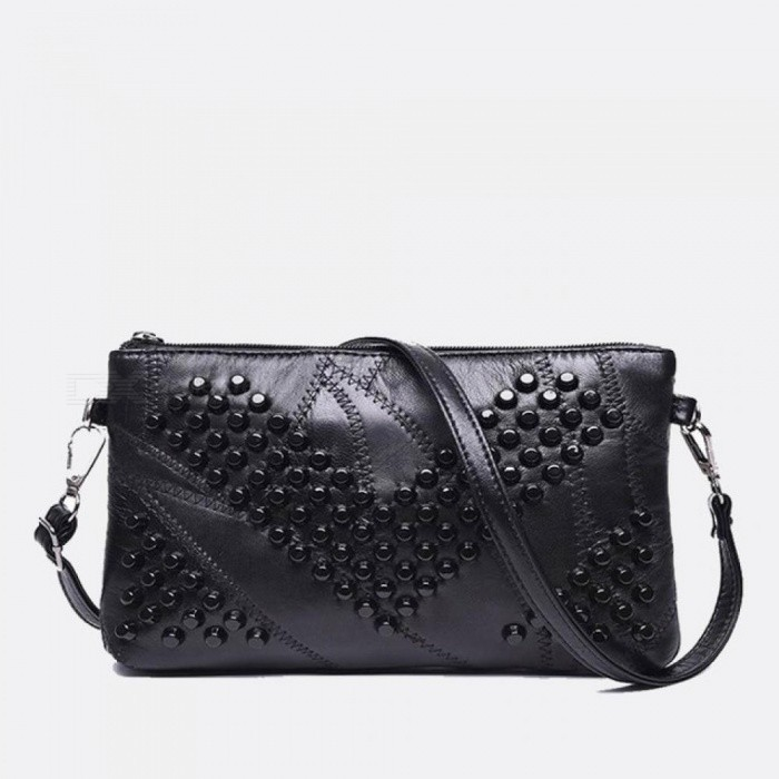 92c25bcbdaf Diamond Genuine Leather Women Bag Rivet Crossbody Bag Women's Clutch  Patchwork Messenger Bag Females Purse