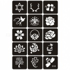 10/15 Sheet Small Glitter Woman Drawing Tattoo Body Paint Flower Butterfly Cartoon Kids Girl Cute Airbrush Stencils & Templates X04  15 Sheet