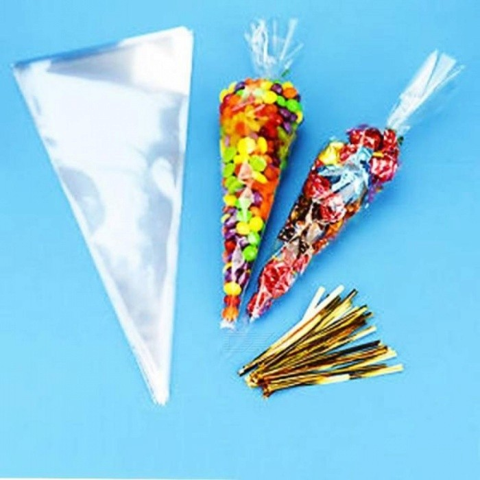 100pcs Party Cone Clear Cello Bags Sweet Candy Ties Large Size Kids Birthday Gift Pocket Party Supplies Wedding Favors