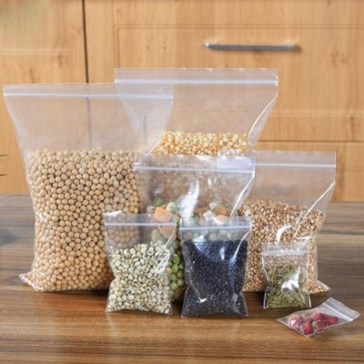 100pcs Clear Plastic Seal Top Zipper Zip Lock Reclosable Poly Jewelry Bags Pouches Food Save Storage Packaging Grocery Baggie 17X25cm