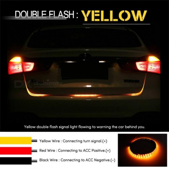 Amber Turn Signal Flow LED Strip Light Car Tailgate Luggage 12V LED Trunk Strip Rear Lamp Dynamic Streamer Floating Strip