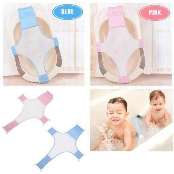 Baby Infant Cross Shaped Slippery Bath Net Antis Kid Bathtub Bath Shower Cradle Bed Seat Net PP and Cotton Home Pink Blue