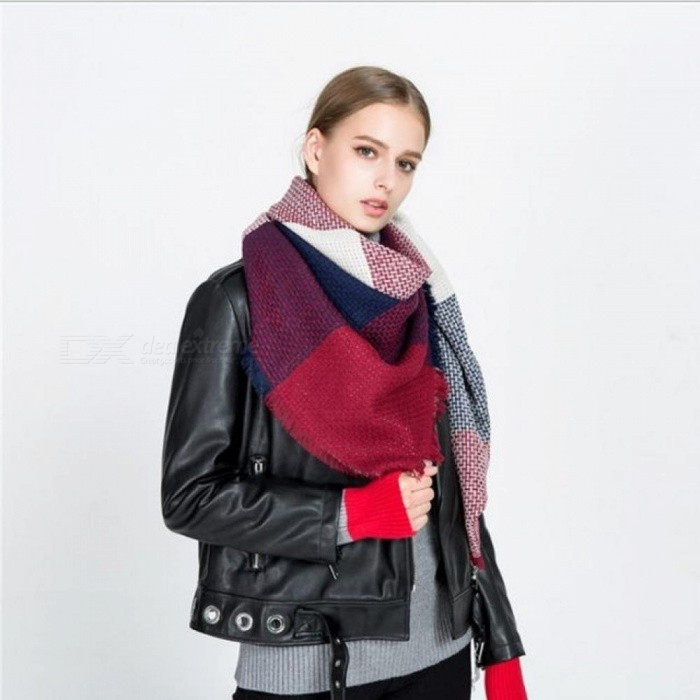 Winter Luxury Brand Scarf for Women Stitching Plaid Cashmere Shawl Thick Warm Blanket Scarves Wraps Christmas Gift