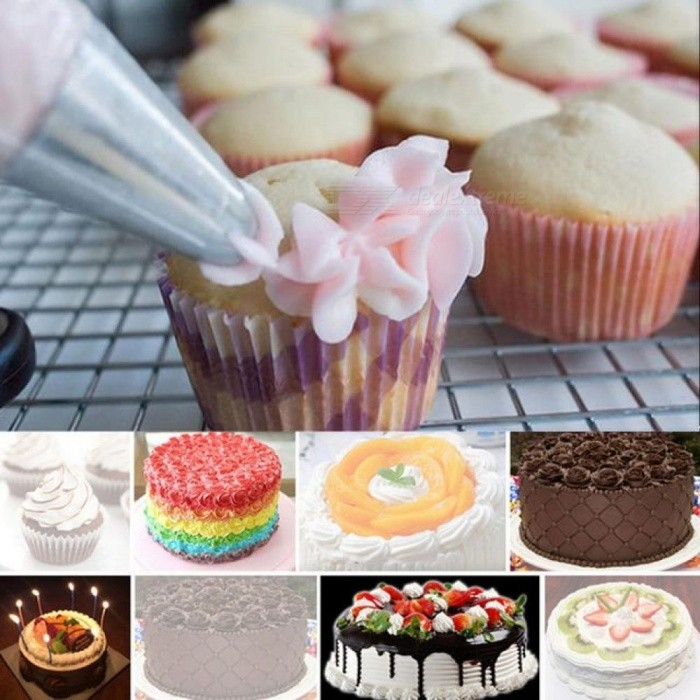 100pcs Disposable Plastic Pastry Piping Bag Icing Nozzle Fondant Cream Pastry Tip Fondant Cake Decorating Tool