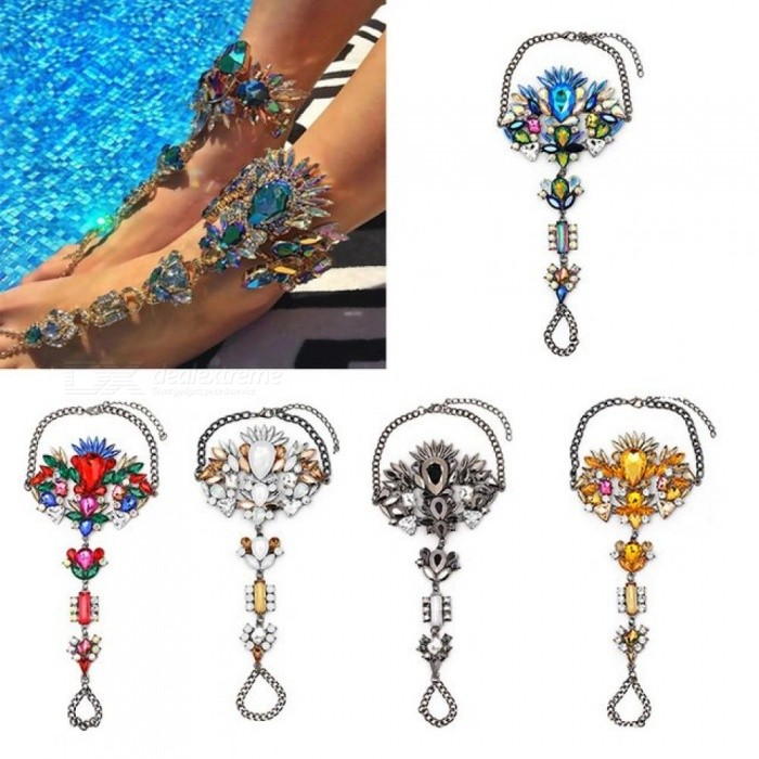 Boho Crystal Anklet Australia Beach Vacation Ankle Bracelet Sandals Sexy Leg Chain Female Statement Foot Jewelry