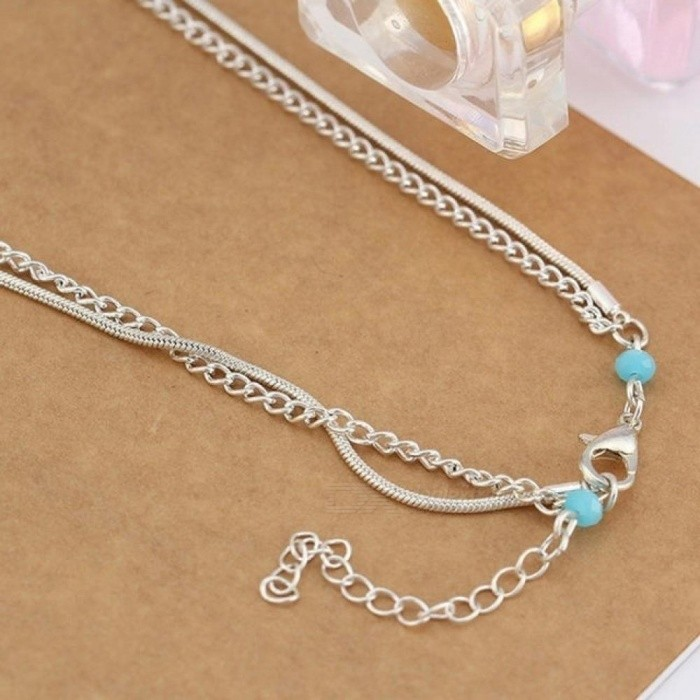 Minimalism Multilayer Silver Anklets Women Ankle Bracelets Female Foot Chain Blue Beads Charm Beach Sandal Barefoot