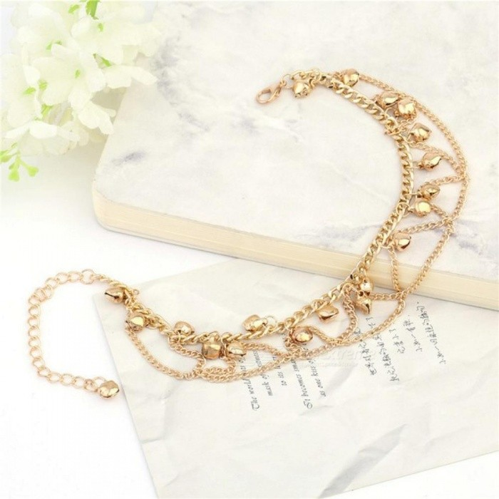 New Women Girl Tassel Chain Bells Sound Gold Metal Chain Anklet Ankle Bracelet Foot Chain Jewelry Beach Anklet
