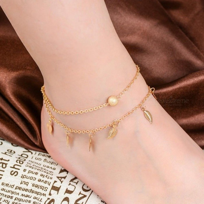 ... Anklets for Women Foot Accessories Summer Beach Barefoot Sandals  Bracelet Ankle On The Leg Female Ankle Strap Silver leaf - Worldwide Free  Shipping - DX 22abcb6ce644