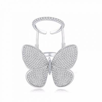 High Quality Fashionable Unique Adjustable Ring Micro Paved Shining  Movable Butterfly Shape Jewelry for Party Gift Silver/7