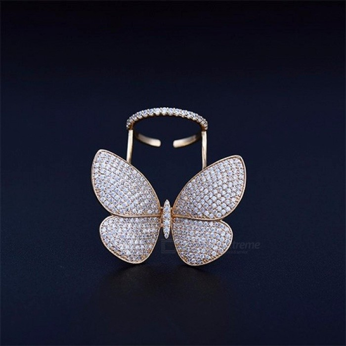High Quality Fashionable Unique Adjustable Ring Micro Paved Shining  Movable Butterfly Shape Jewelry for Party Gift