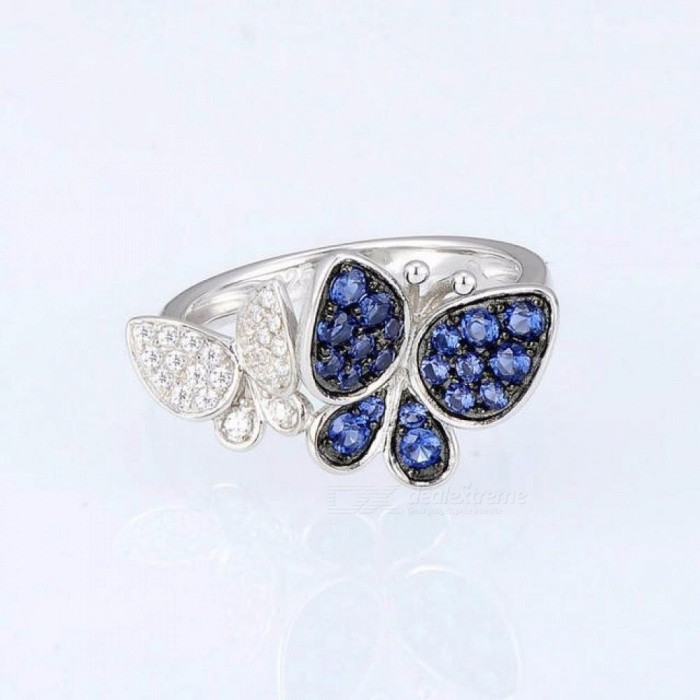 Silver Butterfly Ring 925 Sterling Silver Fashion Rings for Women Cubic Zirconia Ringen Party Jewelry
