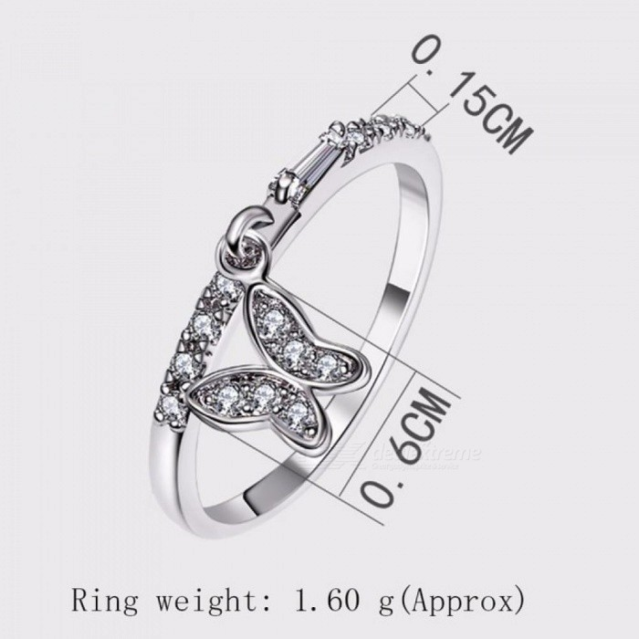 Lovely butterfly rings wholesale lot anel feminino aneis bague zirconia crystal Fashion White Trendy ring