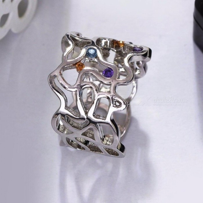Fashion Sexy Hollow Rings for Lady gold wedding ring vintage Purple Yellow Blue Zircon Unique Jewelry Anillos mujer