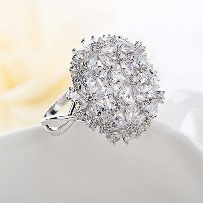 Clear Cubic ZIrconia Elegant Bowknot Wedding Rings for Womenbelly rings Bridal Engagement Free Shipping
