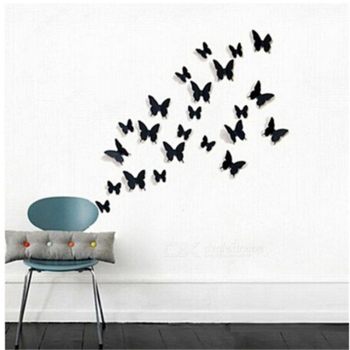24pcs/lot pvc 3d diy butterfly wall stickers home decor poster for