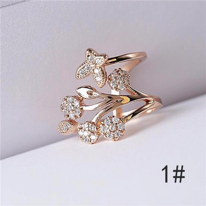LNRRABC Butterfly Leaf Flower Rhinestones Stainless Steel Open Finger Rings For Women Fashion Jewelry Wholesale Dropshipping