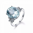 Fashion Women Silver Plated Classic Round Butterfly Big  Crystal Ring Size 6-10 Wedding Party Gifts Jewelry Rings J77515/6