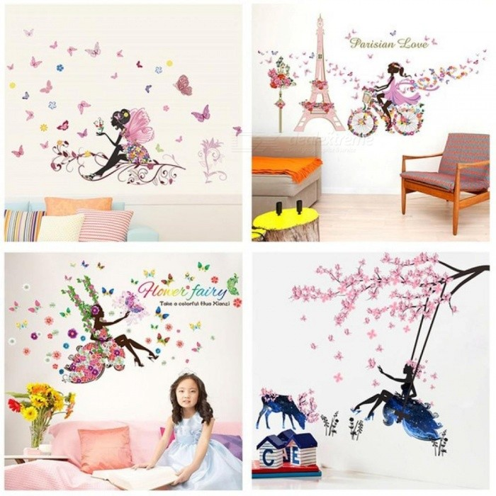 Butterfly Flower Fairy Wall Stickers For Kids Rooms Bedroom Decor DIY  Cartoon Wall Decals Mural Art