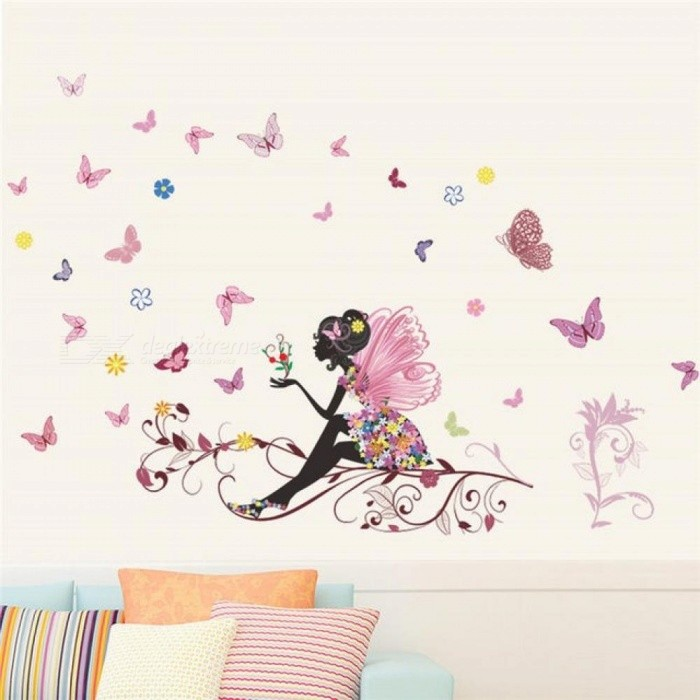 ... Butterfly Flower Fairy Wall Stickers For Kids Rooms Bedroom Decor DIY  Cartoon Wall Decals Mural Art ...