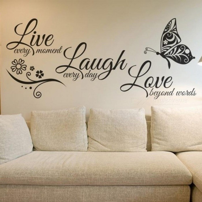 Love Butterfly Flower Wall Art Sticker Modern Wall Decals Quotes Vinyls Stickers Wall Stickers Home Decor Living Room Medium Size 95x41cm/Black - Worldwide ...