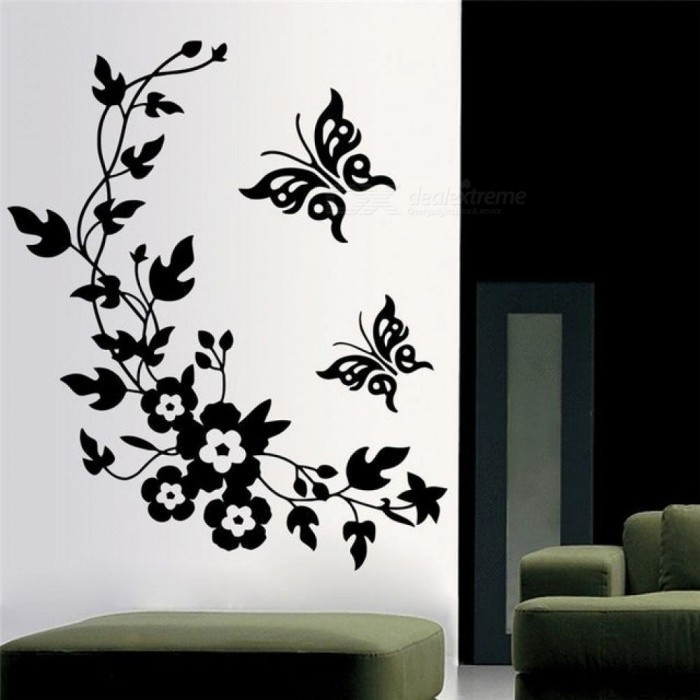 Black Classic Butterfly Flower Home Wedding Decoration Wall Stickers for Living Room Kitchen Bathroom Decorative Flora Mural Art