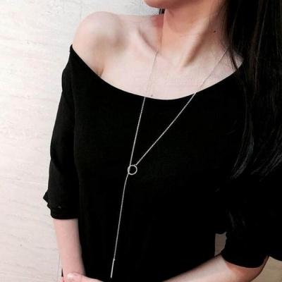 Fashion Jewelry Women Necklaces Circle with Bar Chian Necklace for Women Collares Chain Necklaces & Pendants Necklace