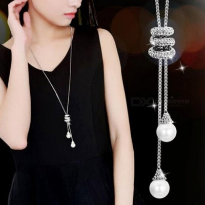 Simulated Pearl Crystal Long Sweater Chain Circles Necklace Vintage Accessory Crystal Collares Statement Jewellery SV