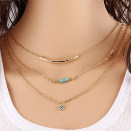 1pc Unique Charming Gold Tone Bar Circle Lariat Necklaces Women Multilayer Chain Necklaces Female Party Jewelry 8