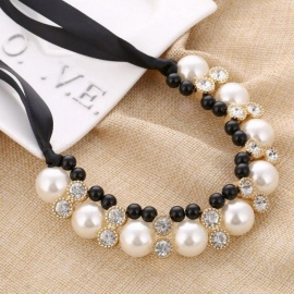Imitation Pearl Chokers Necklace White/Black Beads Rhinestone Ribbon Necklaces & Pendants Statement Necklace for Women XL956 white