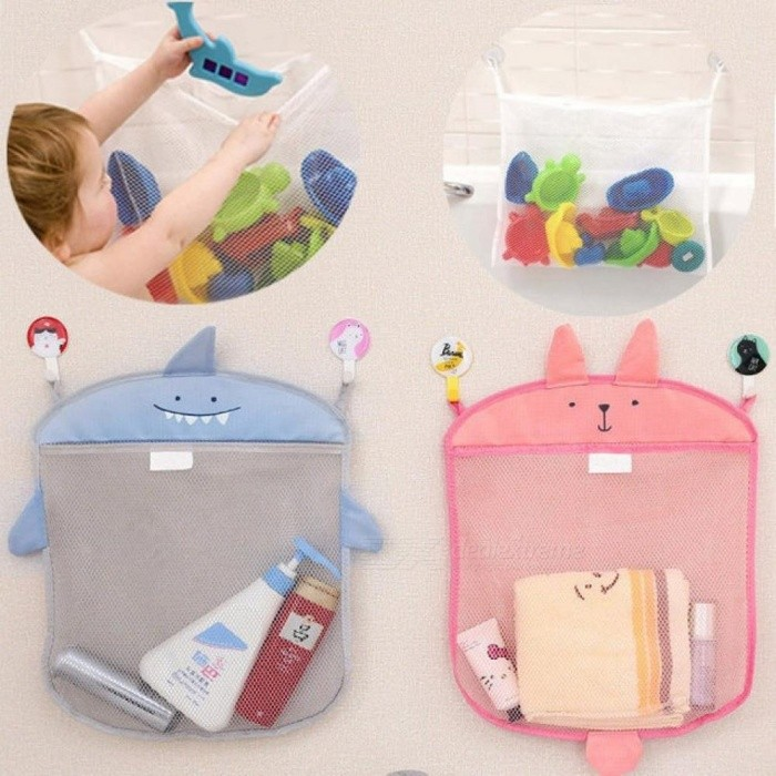 Image of Baby Bathroom Mesh Bag for Bath Toys Bag Kids Basket for Toys Net Cartoon Animal Shapes Waterproof Cloth Sand Toys Beach Storage
