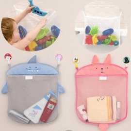 Baby Bathroom Mesh Bag for Bath Toys Bag Kids Basket for Toys Net Cartoon Animal Shapes Waterproof Cloth Sand Toys Beach Storage Grey shark