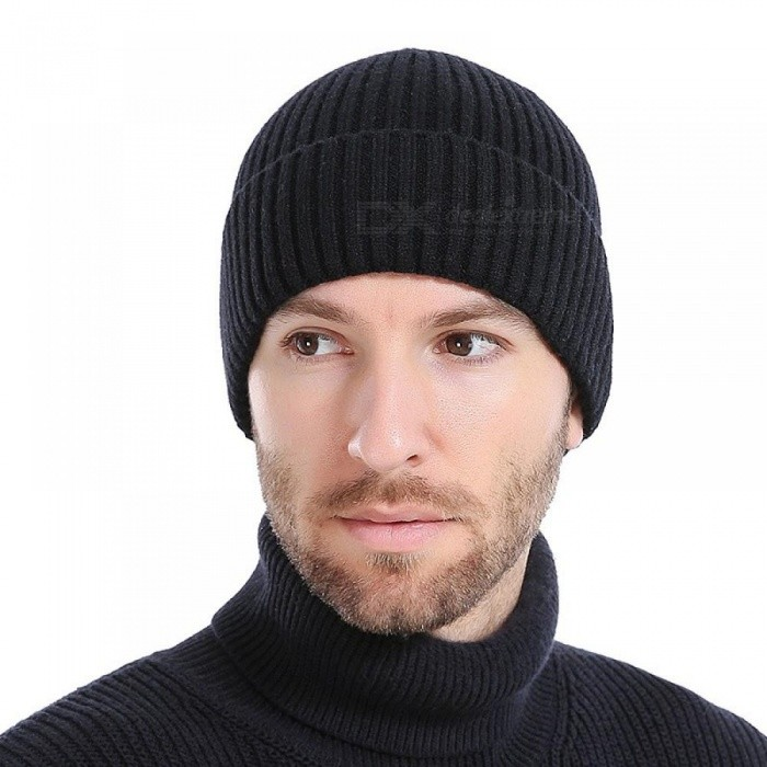 89b399e63ee Unisex Winter Hats Fashion Knit Black Hats Autumn Hats Thick and Warm Hats  Skullies Peas Soft Knitted Woolen Cotton Navy - Worldwide Free Shipping - DX