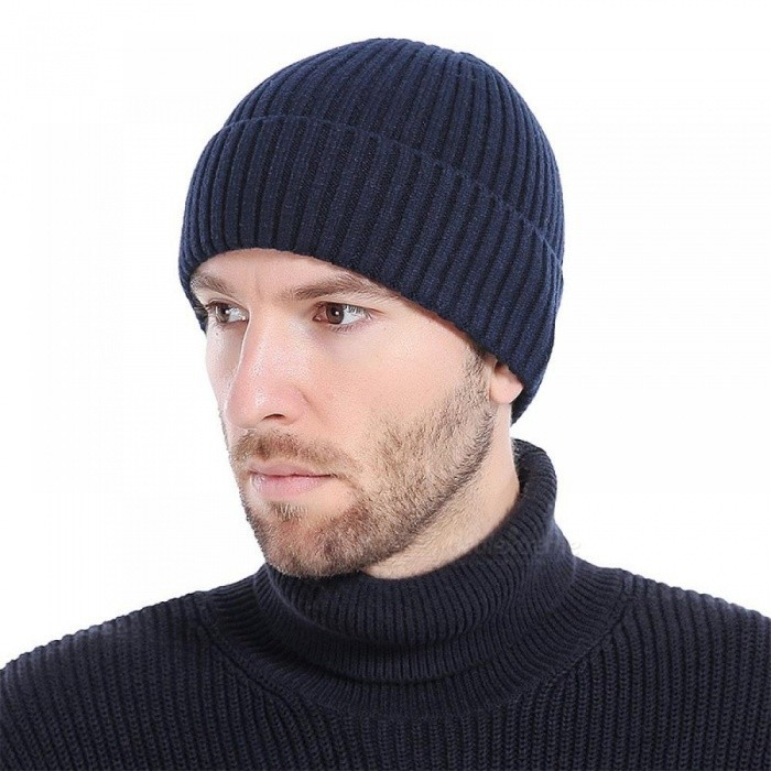 9092d0a0460 ... Unisex Winter Hats Fashion Knit Black Hats Autumn Hats Thick and Warm  Hats Skullies Peas Soft ...