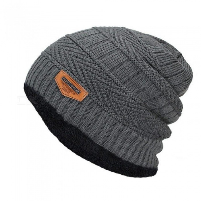 e7033852c0d ... Men s Winter Hat Fashion Knitted Black Hats Fall Hat Thick and Warm and  Bonnet Skullies Beanie ...