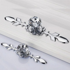 Retro Metal Kitchen Drawer Cabinet Door Handle Glass Crystal Dresser Knobs Furniture Knobs Cupboard Pull Handles with Screw S