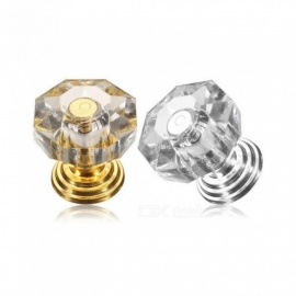 18mm Crystal Glass Door Handle Door Drawer Cabinet Furniture Handle Knob Screw Home Accessories Unique Design  Gold