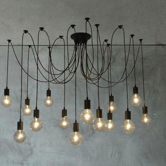 ... Modern White Black Lustre Chandeliers 6 16 Arms Retro Adjustable Edison  Bulb Lamp Art Spider ...