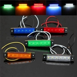 1pc DC 24V 6 SMD LED Car Bus Truck Trailer Lorry Side Marker Indicator Light Side Lamp White/Red/Amber/Blue/Green Red